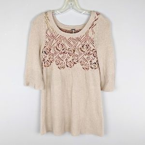 Free People | Beige Boho Sweater